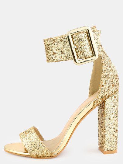235f8f09e28 Glitter Ankle Strap Chunky Heels GOLD