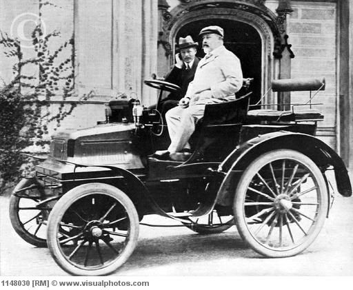 The man himself, King Edward VII, 1900--only the very wealthy could afford automobiles at this time.