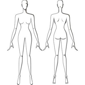 Female Figure Drawing Templates Front And Back Fashion Design Template Fashion Figures Fashion Figure Templates