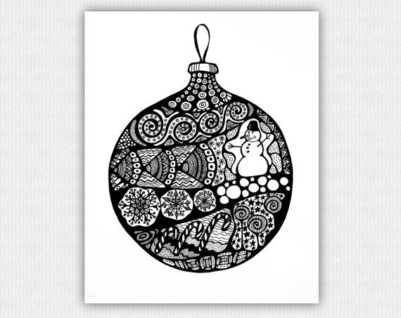 INSTANT DOWNLOAD Black & White Printable Art Print  by Anabel27Art