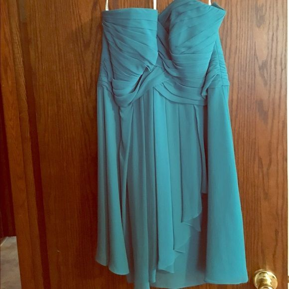 Brand new David's bridal dress Brand new with tags never worn dress from David's bridal. Perfect for a school dance or a bridesmaid dress. teal colored, strapless chiffon type dress David's Bridal Dresses Strapless