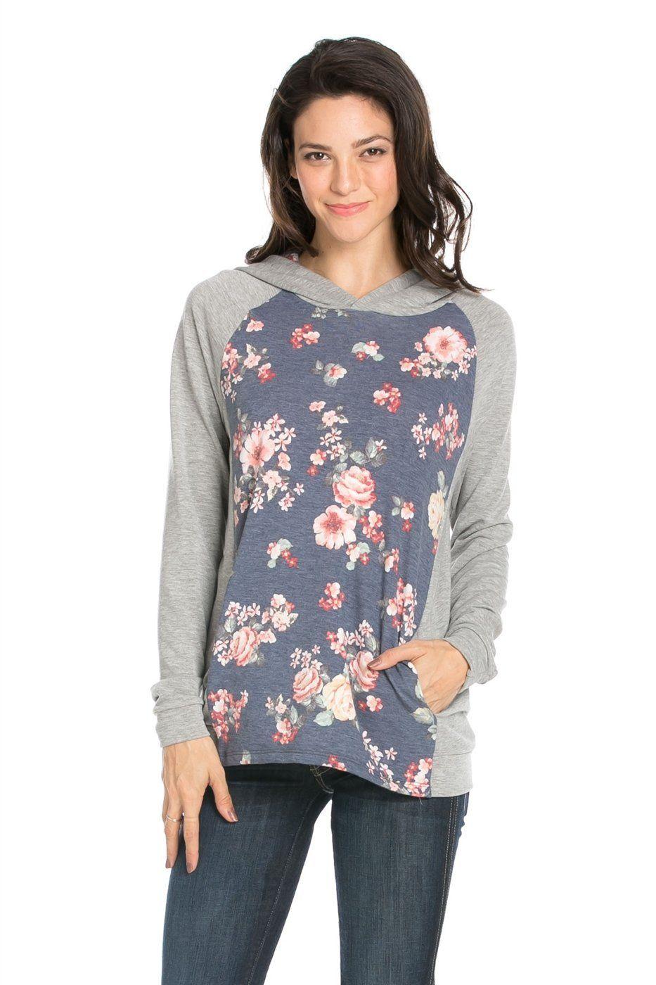 Burgundy floral gray hoodie products
