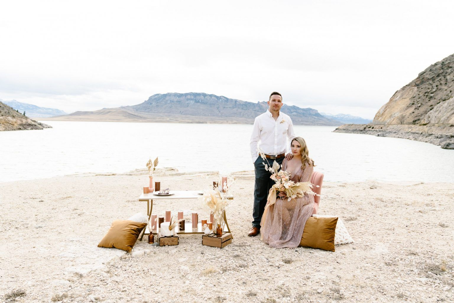 Dusty Pink Wyoming Elopement Inspiration Rocky Mountain