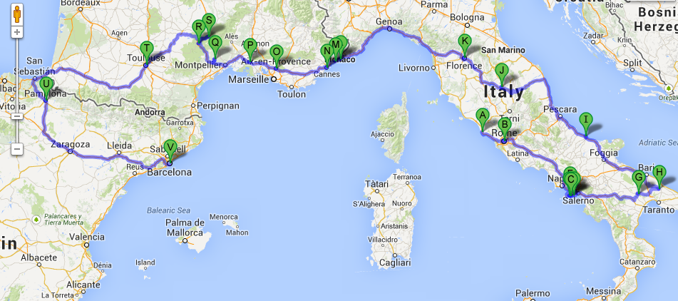 South Of France And Italy Map.Southern Europe Road Trip 18 Days Across Italy France Spain