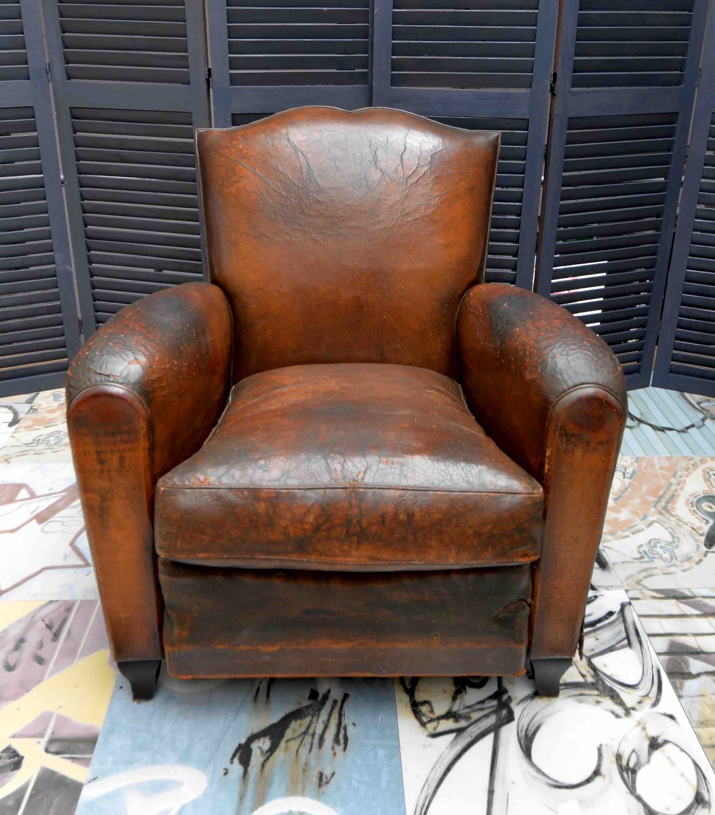 1930s Small French Art Deco Moustache Leather Lounge Club Chairs