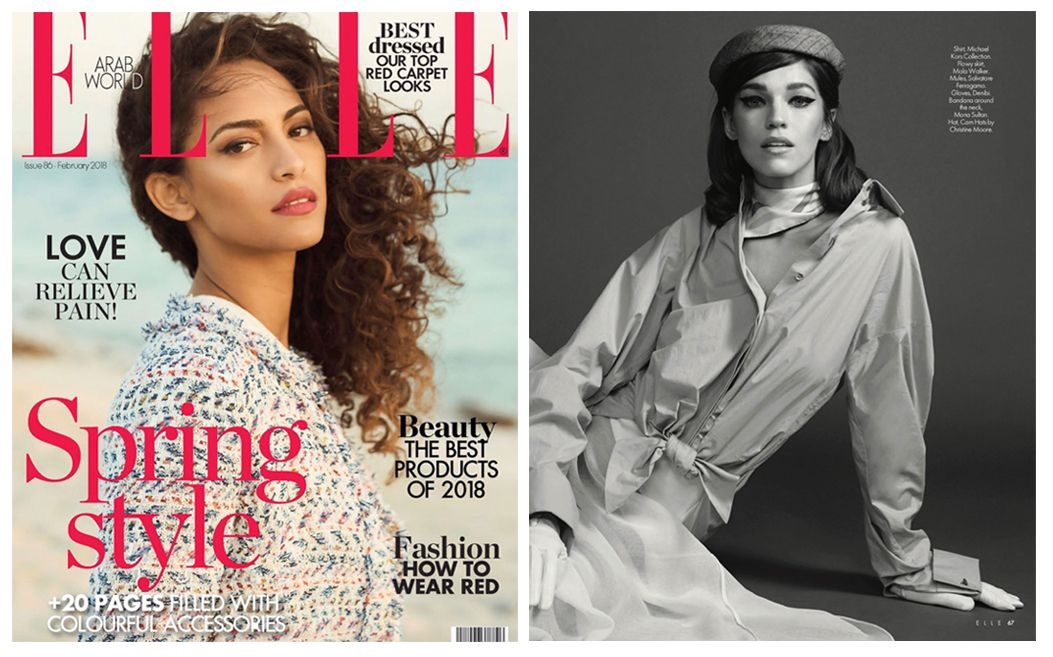 Mona Sultan Multi Stripes Neckerchief In The February Issue Of Elle Middle East Styled By Saulu Santana East Fashion Wearing Red Style