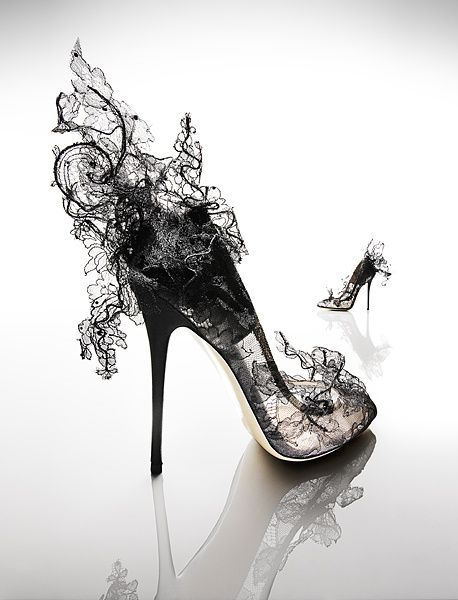 31930ab286e Black lace avant garde shoes- they look like smoke! So cool ...