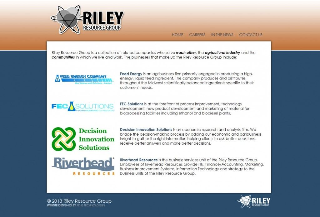 Riley Resource Group Copper Blue Website Design Simple Web Design Agricultural Business Website Design Resources Agribusiness