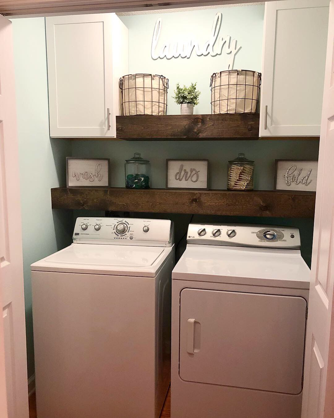 With curtain rod for hanging shirts  Laundry room diy, Laundy