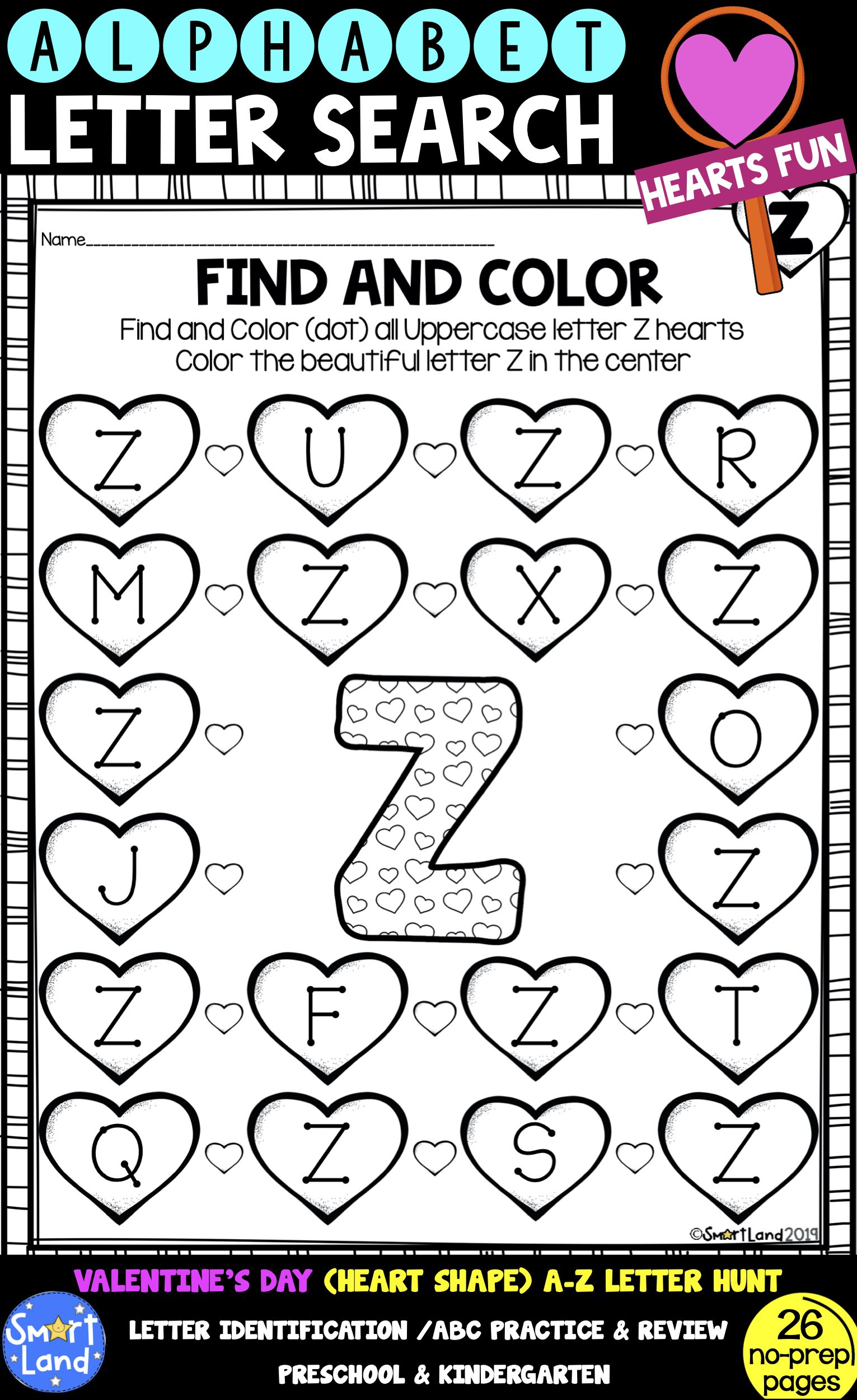 Alphabet Practice Letter Search Hearts
