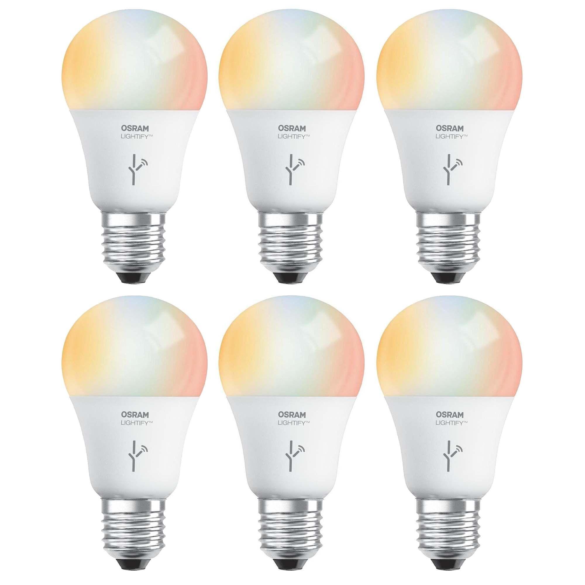 Sylvania Osram Lightify 60w A19 Daylight Rgb Smart Led Light Bulb 6 Pack New 1900 6500k Color Changing Works W Amazon A Light Bulb Led Light Bulb Bulb