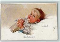 Künstlerkarte Fialkowska, W. Baby mit einer Milchflasche