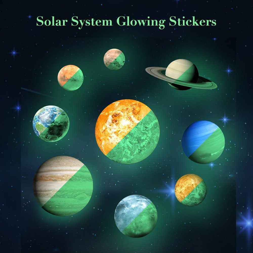 Solar System Wall Decals 9 PCS Glow In Dark Planets Light Luminous 3D Wall  Stickers For