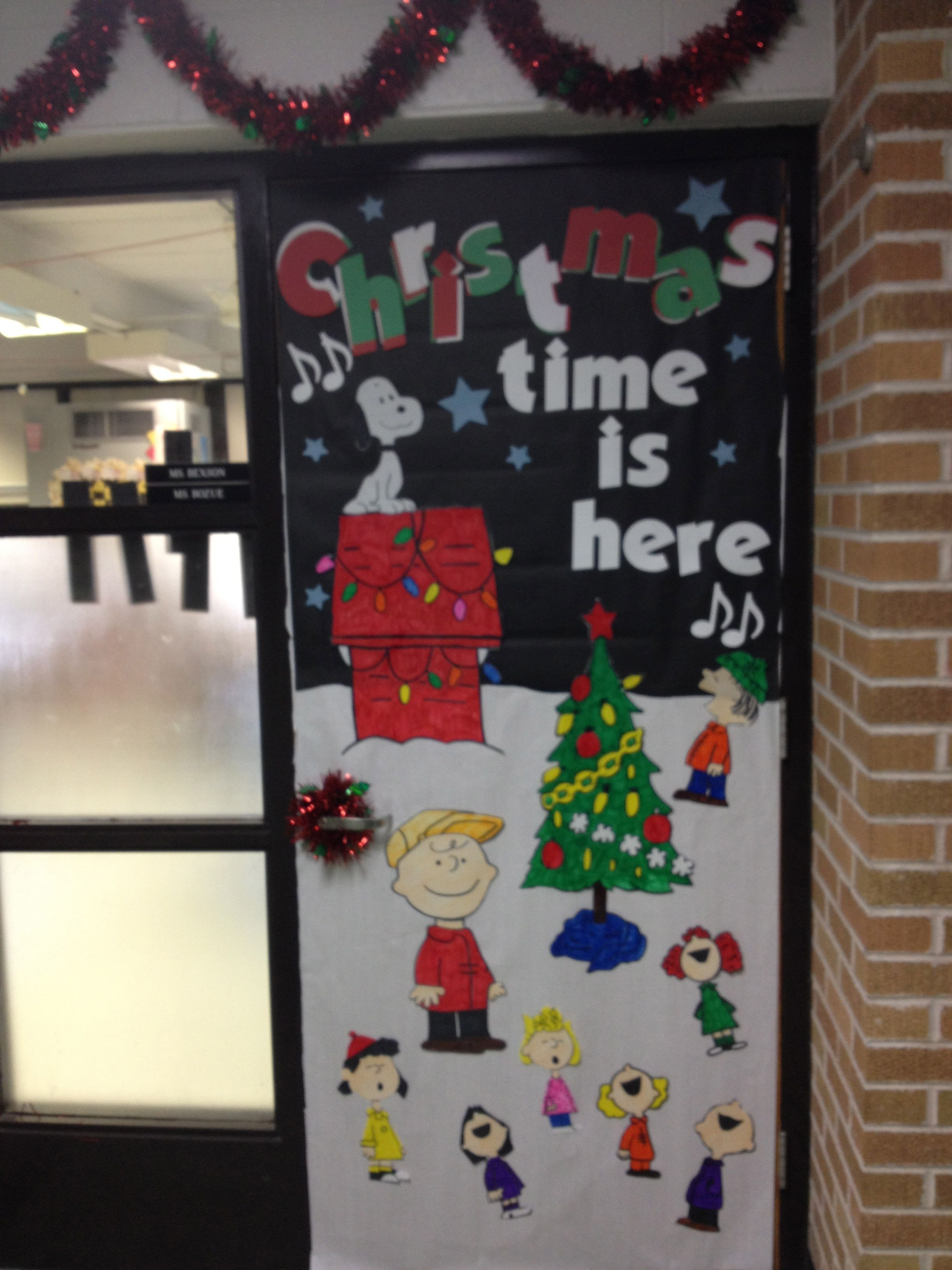 charlie brown christmas door took a while but i love it - Charlie Brown Christmas Decorations