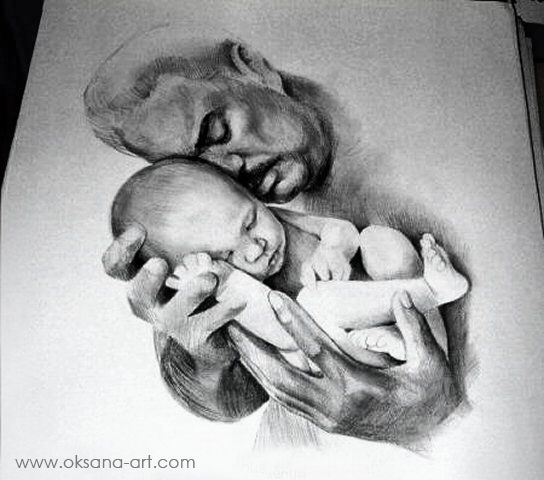 Father drawing portrait pencil charcoal