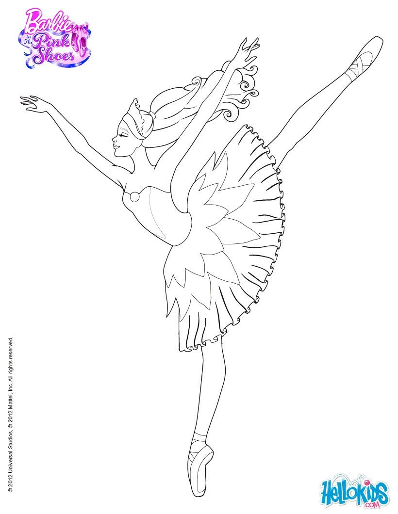 barbie is dancing with the pink shoes coloring page more barbie ballerina coloring pages on
