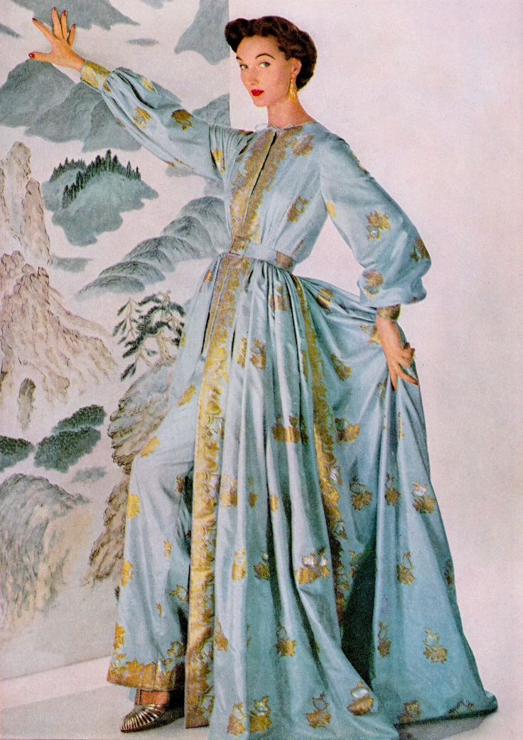 Cool Evening Dresses 50s blue gold embroidered Asian influence gown dress  pant hostess TRAINA-NORELL .