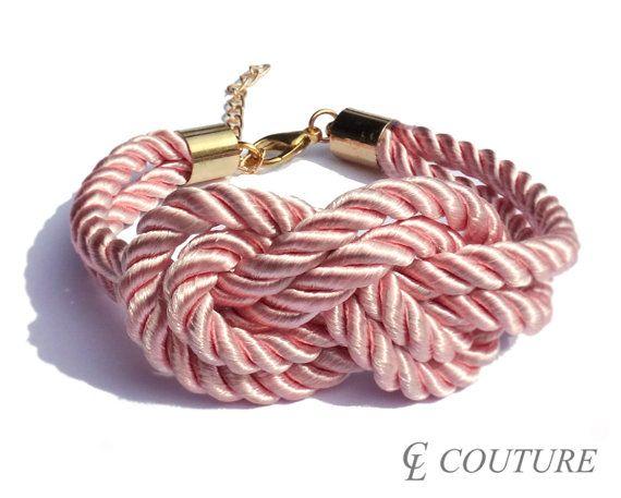 Cute. Light Rose Pink Nautical Silk Rope Infinite Knot Bracelet Adjustable