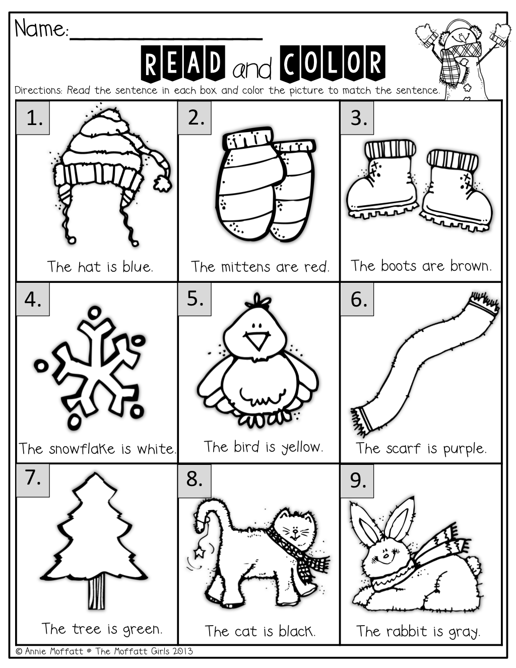 Winter Math and Literacy Packet (Kindergarten)! Ingles