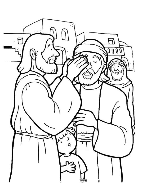 Free Coloring Pages Showing Kindness. Kindness  is Jesus Healing People Coloring Pages