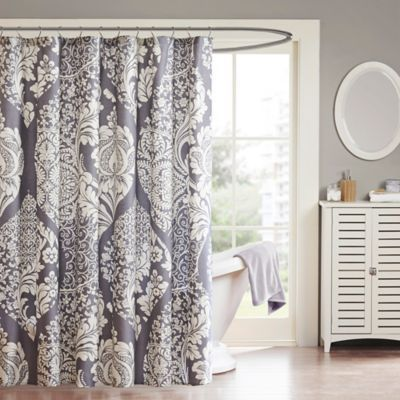 Madison Park Vienna Cotton Shower Curtain in Slate ...