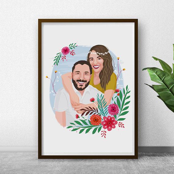 Custom portrait from photo Custom family portrait Valentine\u2019s gift for husband Couples portrait Custom portrait illustration
