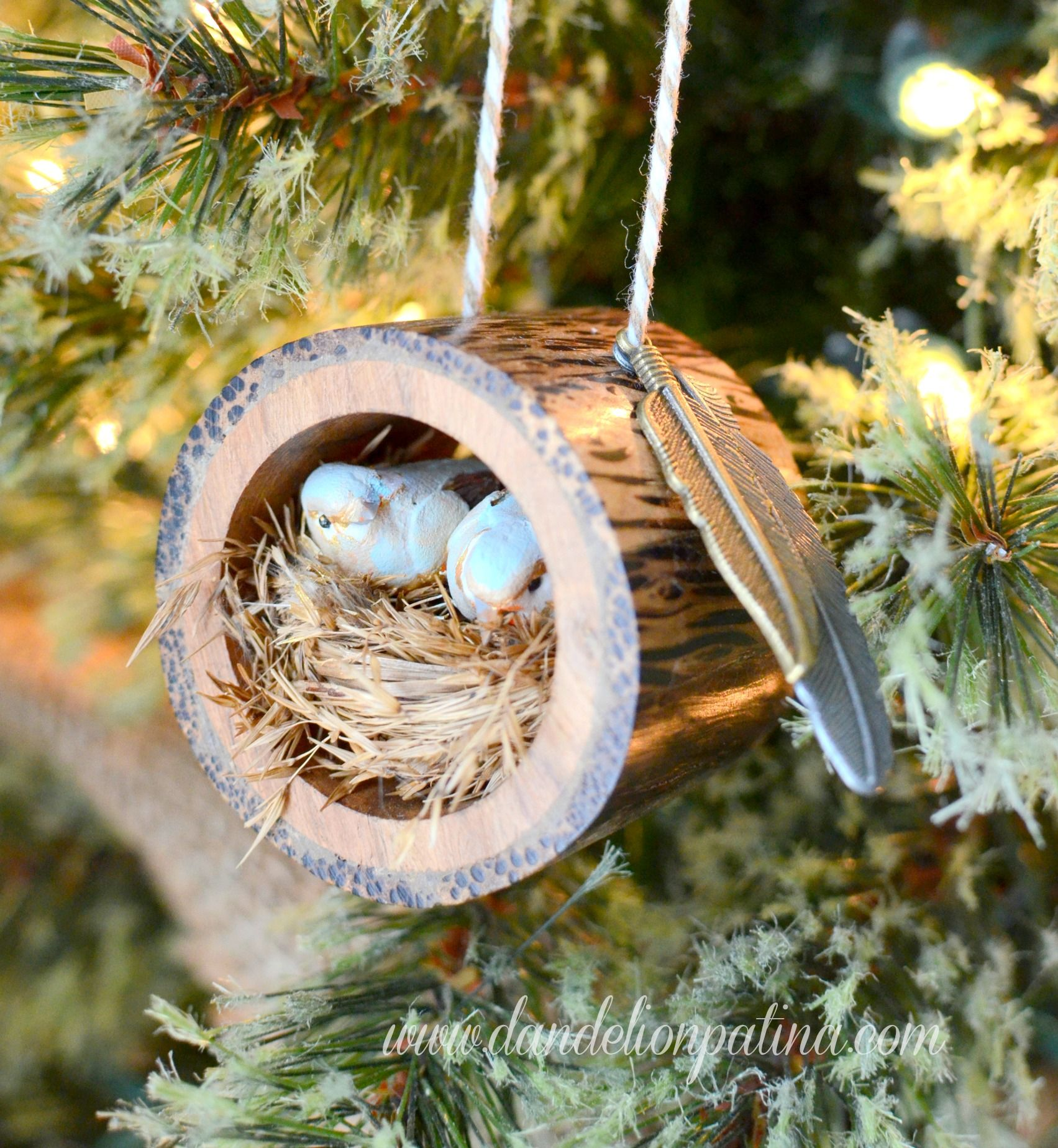 Rustic Pine Toung And Groove Interior Design: Rustic Log Bird Nest Ornament