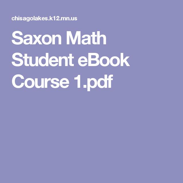 Saxon Math Student Ebook Course 1pdf Saxon Math Student