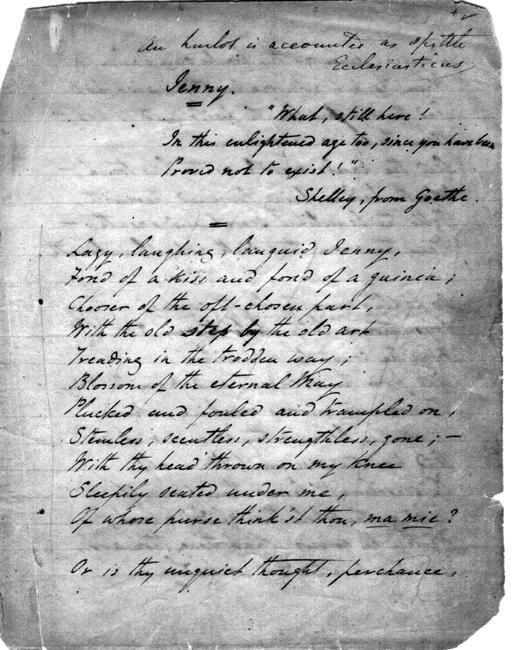Early manuscript of Rossetti's Jenny