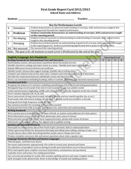 first grade progress report template - report card first grade common core editable fits on
