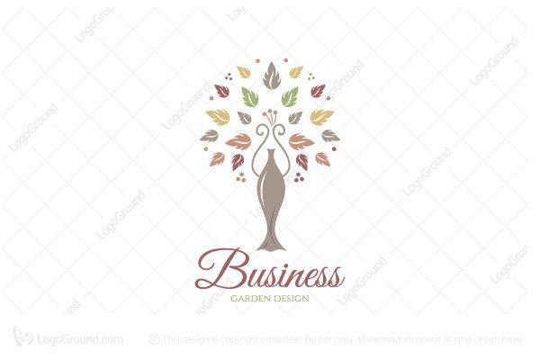 garden care logo #garden #gardencare Graceful Garden Vase Peacock Logo