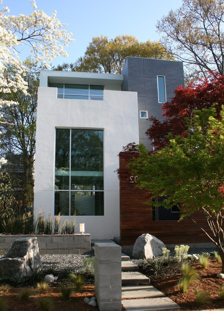 Exterior House Designs Exterior Modern With Concrete Patio Flat Roof: Concrete Flat Roof Design Exterior Modern With Guest House Guest House River Rock