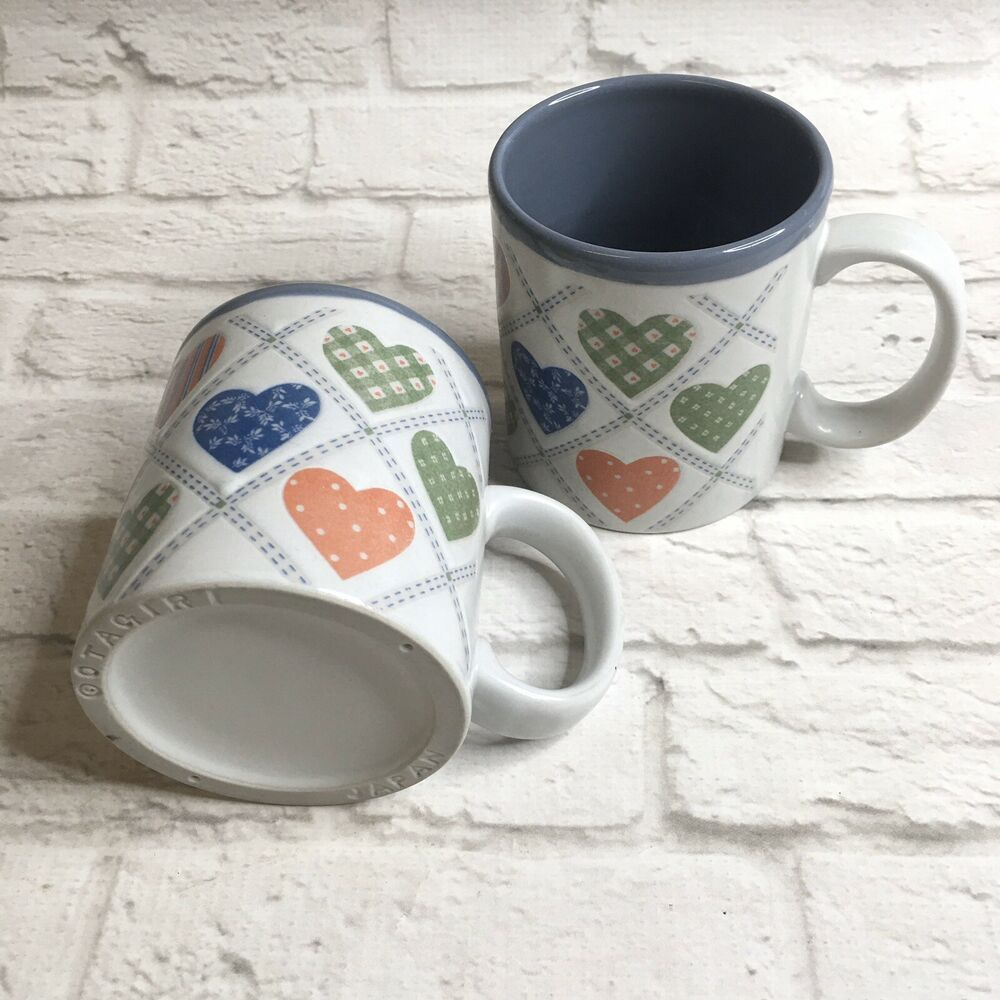 Details About Otagiri Coffee Mugs Calico Hearts Country Pair Ceramic Japan Vintage Patchwork In 2020 With Images Coffee Mugs Vintage Mugs Best Coffee Mugs