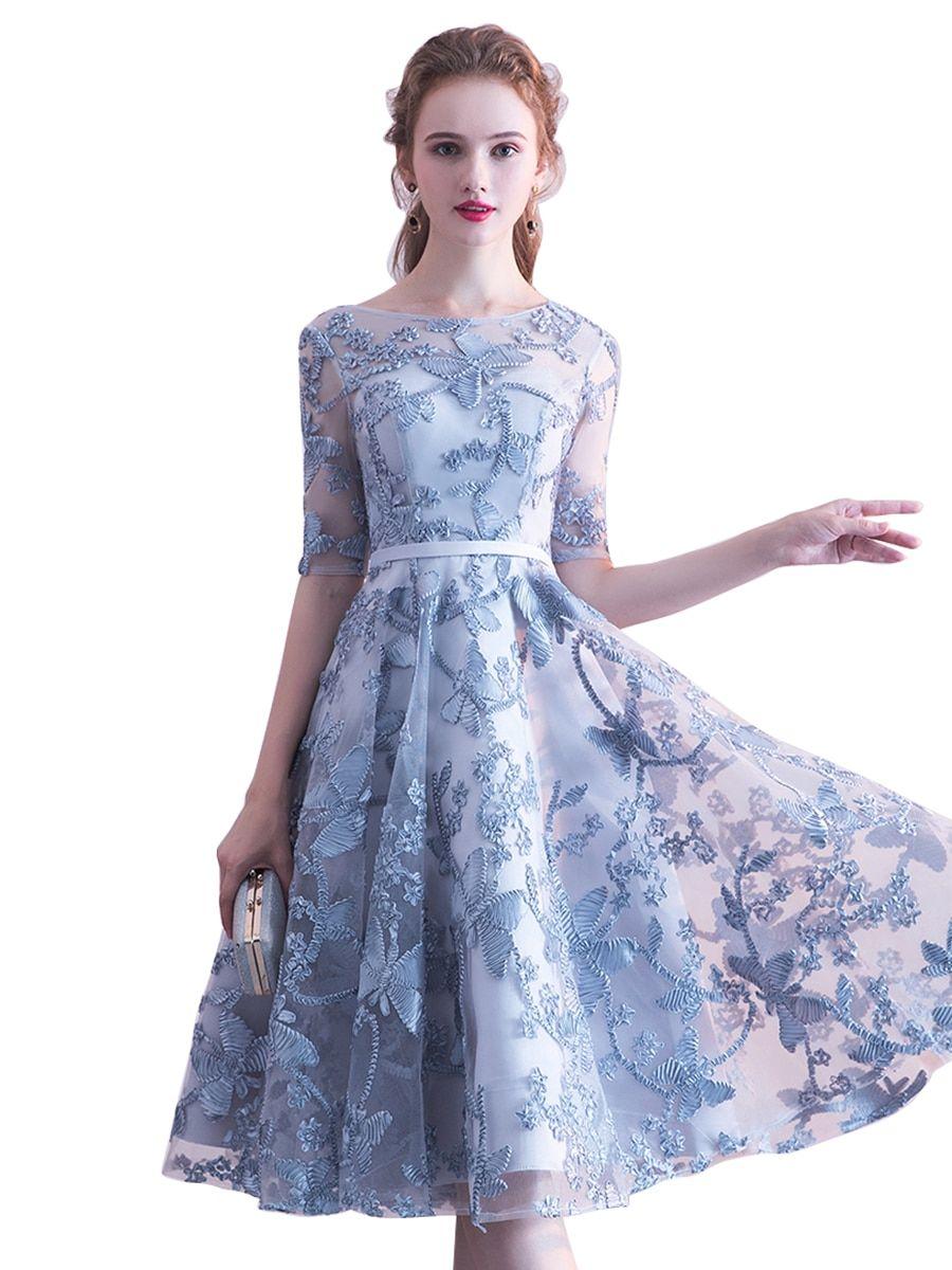 Buy ashaniya Women s Full Dress Half Sleeve Lace O Neck Charming Dress    Evening Dresses - 3b67abba0