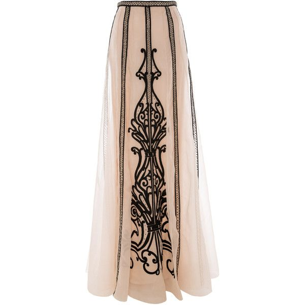 Temperley London Long Crivelli Skirt ($1,505) ❤ liked on Polyvore featuring skirts, bottoms, saias, long skirts, long pink skirt, embroidered long skirts, long ankle length skirts, long print skirt и sheer skirt