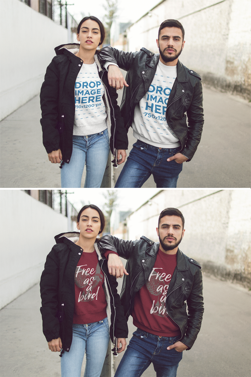 Download Placeit Template Of A Young Hispanic Couple Wearing Matching Crewneck Sweatshirts While Being Cool In The City Crew Neck Sweatshirt How To Wear Clothing Mockup