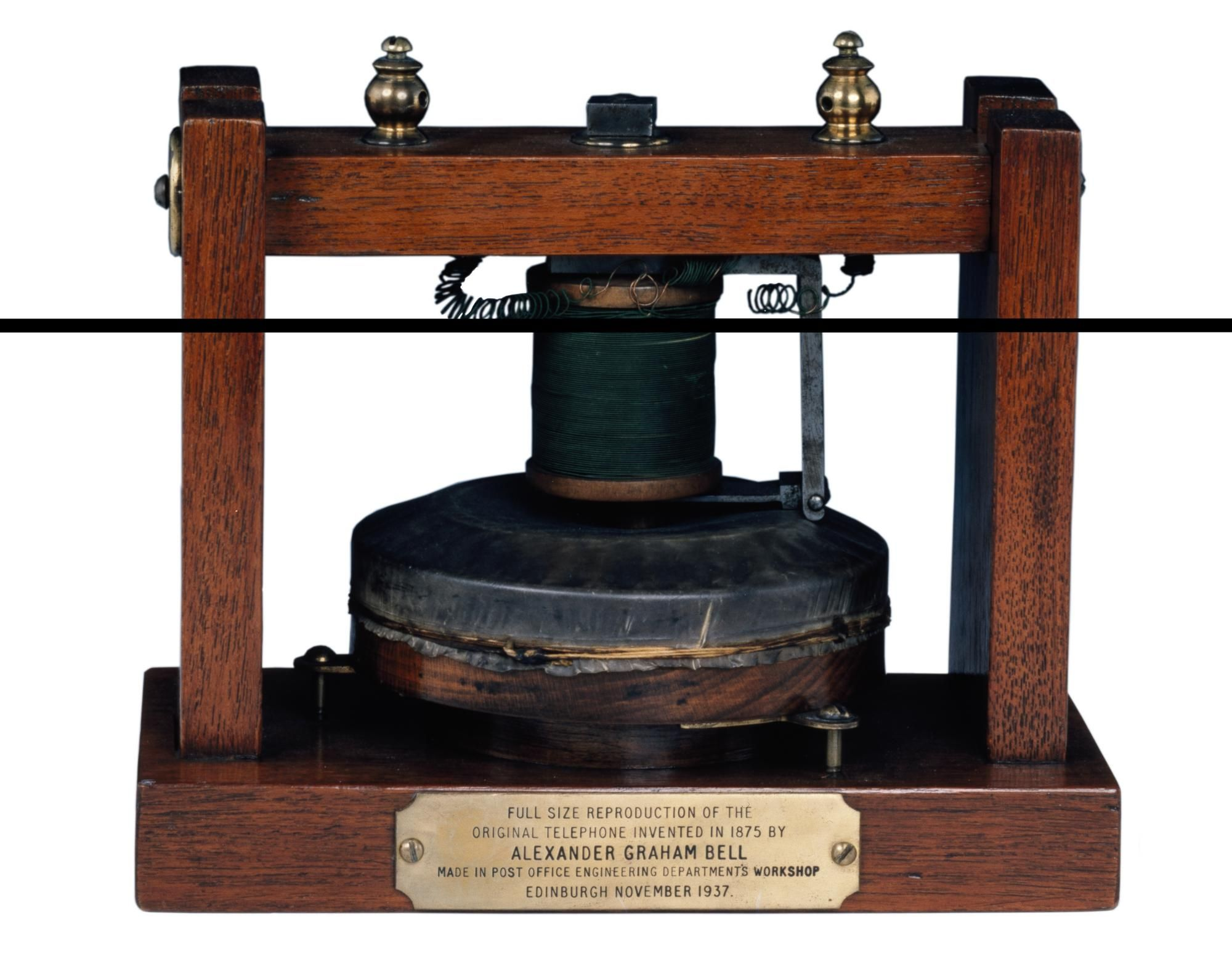 Facsimile of the electric 'gallows' telephone invented by