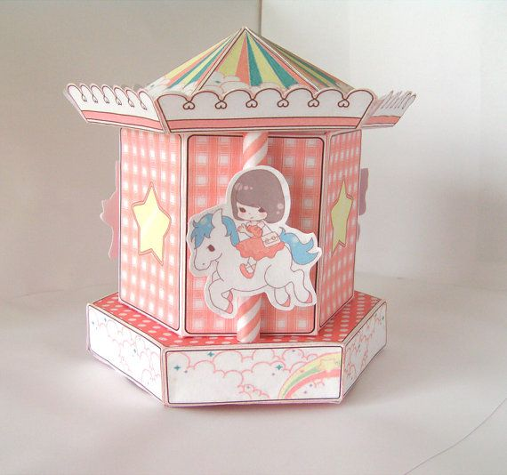 Carousel Merry Go Round Gift Cupcake Box Printable Pdf Instant Download Papercraft Diy Pop Up Book Paper Crafts Etsy Craft Supplies
