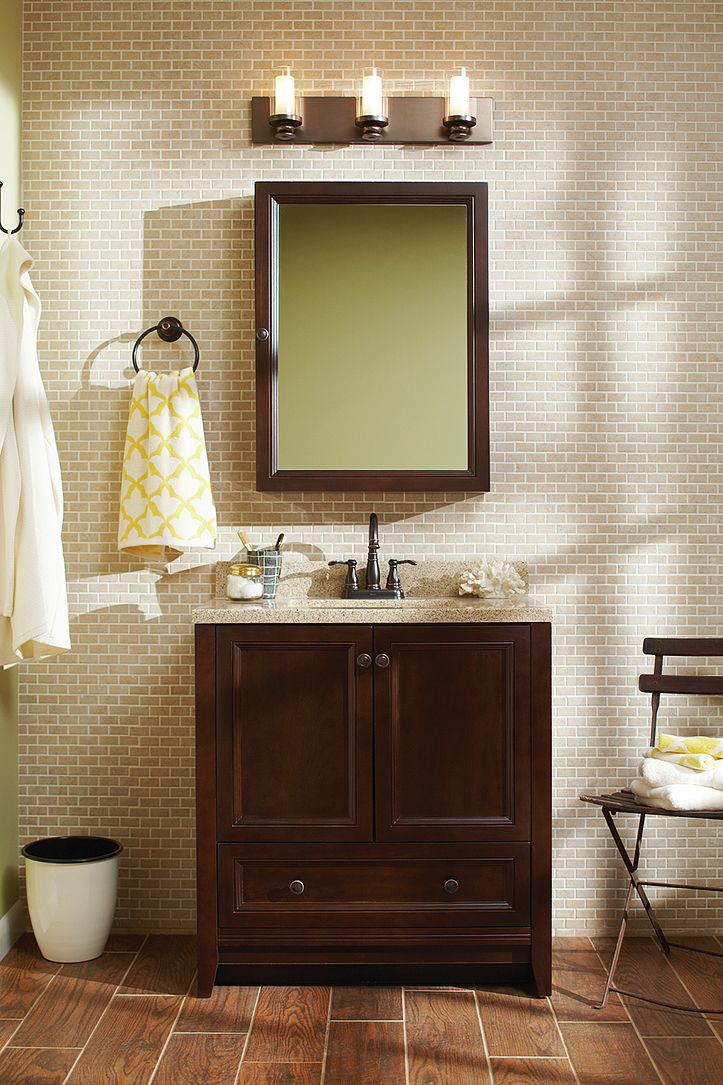The Glacier Bay Delridge Bathroom Vanity Combo Features A Rich - Glacier bay bathroom cabinets for bathroom decor ideas