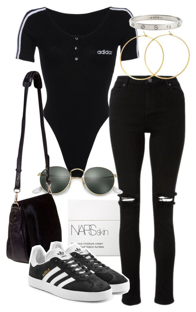 """Untitled #21655"" by florencia95 ❤ liked on Polyvore featuring NARS Cosmetics, adidas, Charlene K, Ray-Ban, Nomadic, adidas Originals and Cartier"