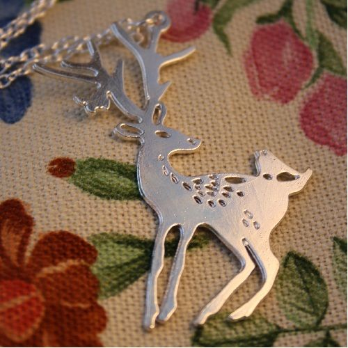 'Oh Deer' Silver Necklace