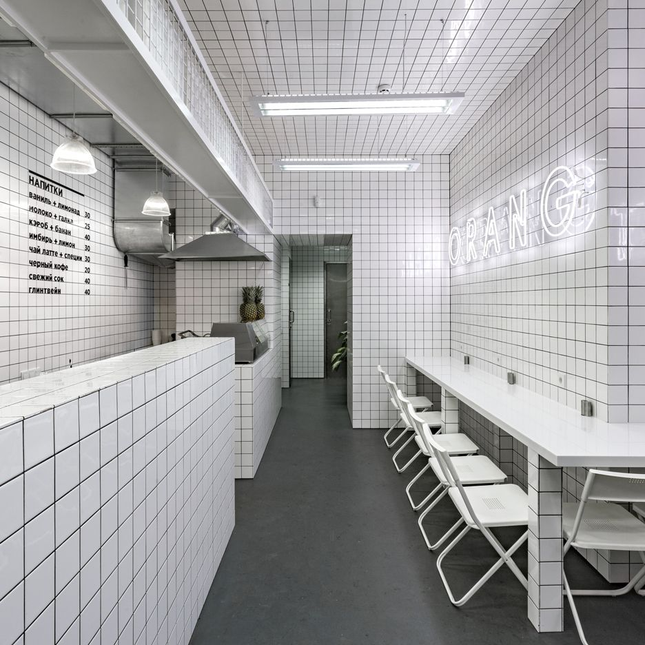 Orang+Utan veggie cafe has white tiling and neon signage  커피숍, 사무실 및 18 ...