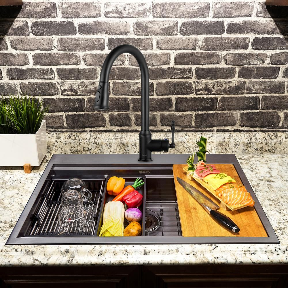 Akdy All In One Matte Black Finished Stainless Steel 33 In X 22 In Single Bowl Drop In Kitchen Sink With Pull Down Faucet Ks0531 Kf9 The Home Depot Drop In Kitchen Sink Sink Faucet