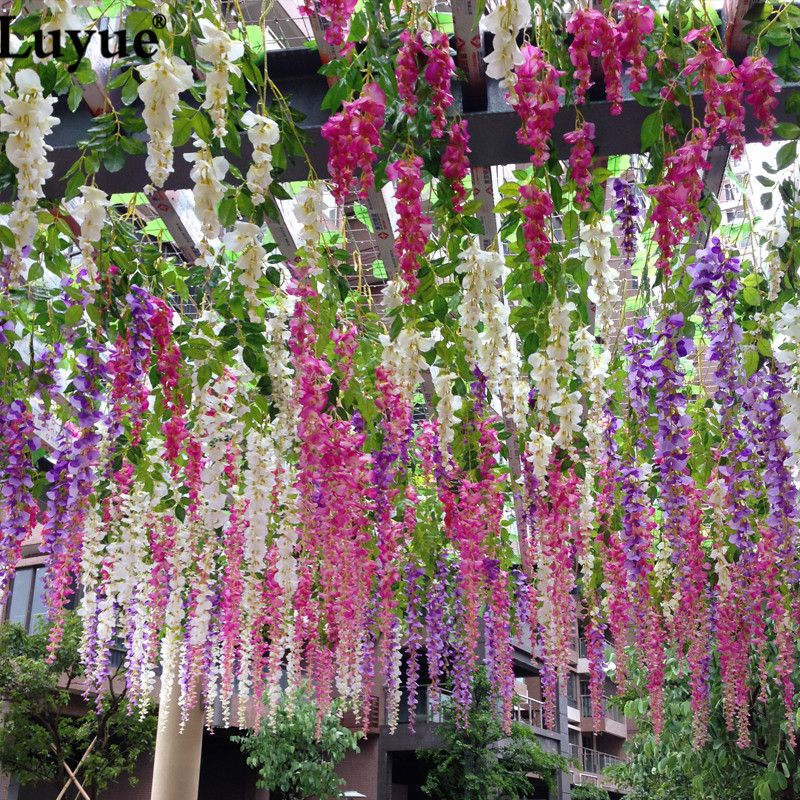 Luyue 110cm Silk Wisteria Garland Artificial Wisteria Flower Garlands  Perfect For Wedding Decoration Home Decorations 48pc