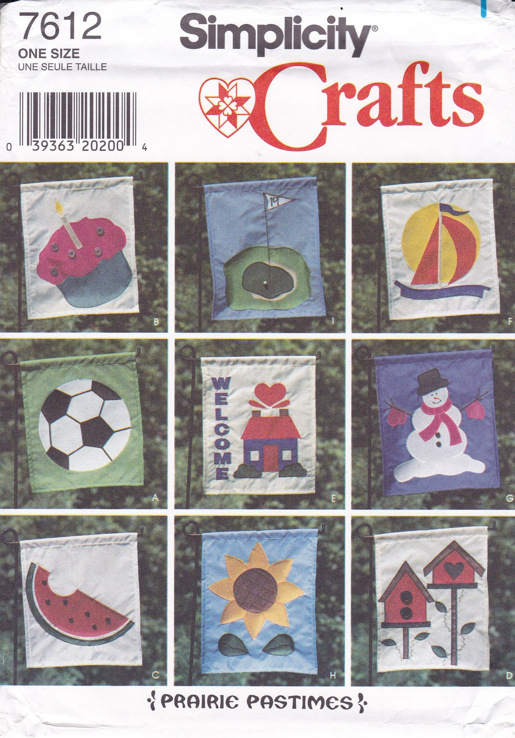 Free Us Ship Simplicity 7612 Sewing Pattern Outdoor Lawn Yard Garden Flag Lique Birthday Golf Soccer Welcome Snowman Sunflower Birdhouse By Lanetzliving