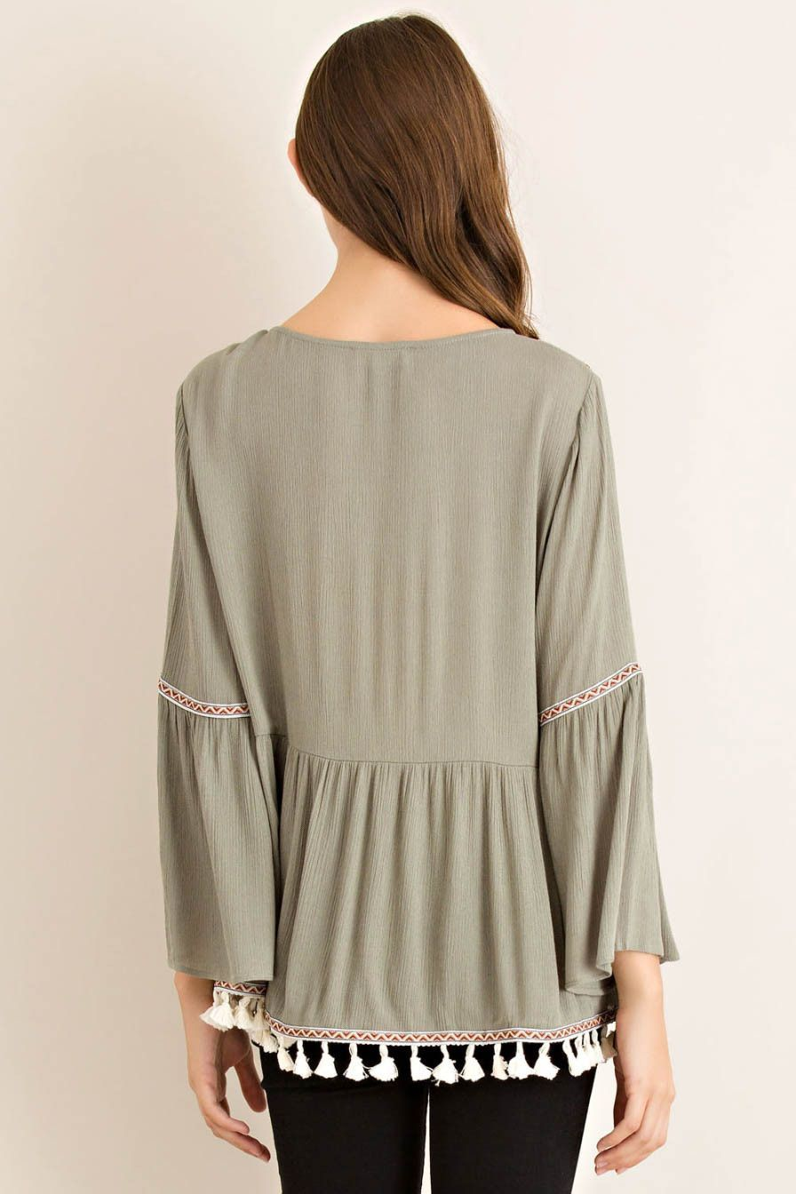 Empire Blouse with Embroidery and Pompom Fringe Trim