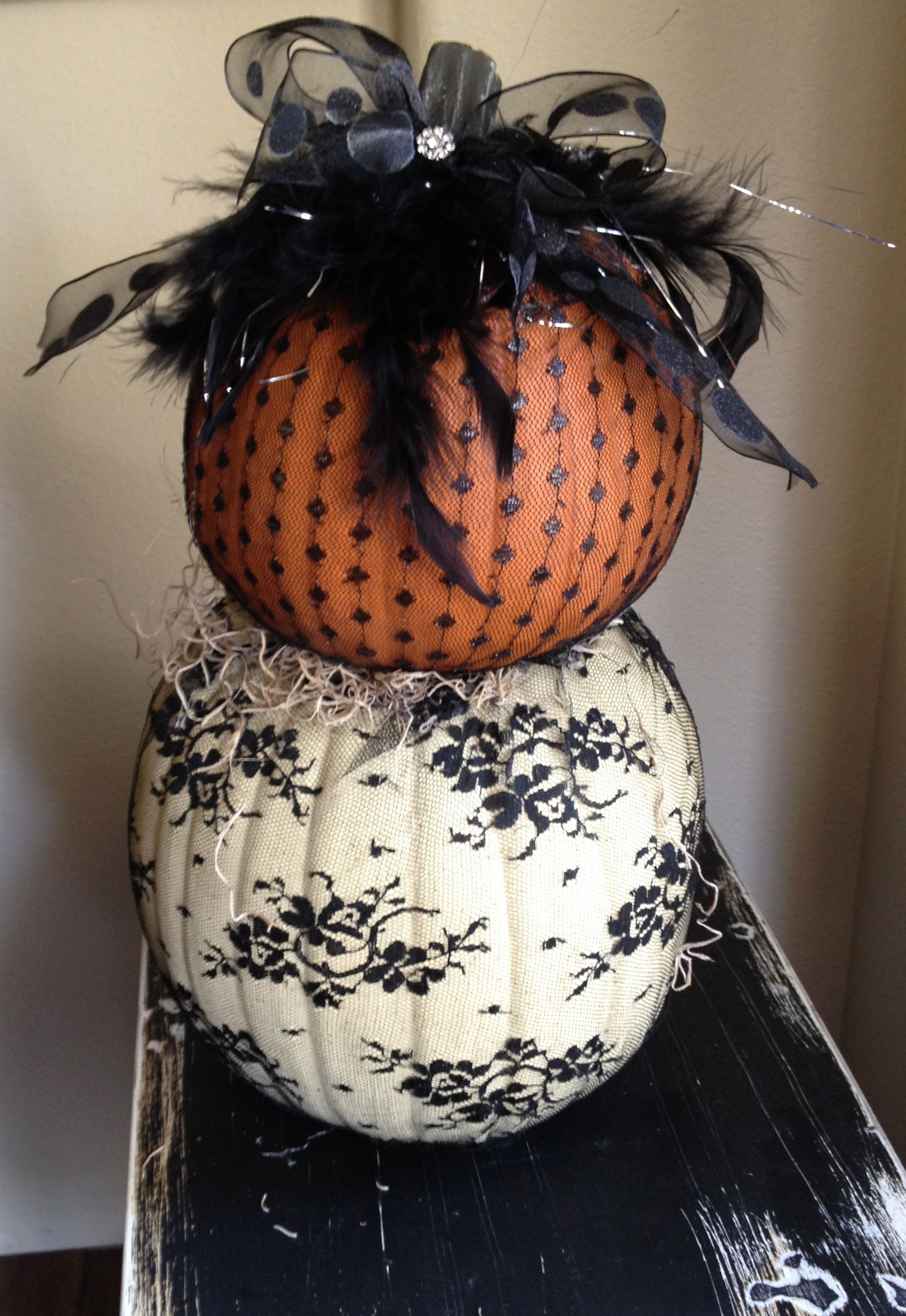 Lace Fabric Covered Pumpkins Holiday Decor Halloween