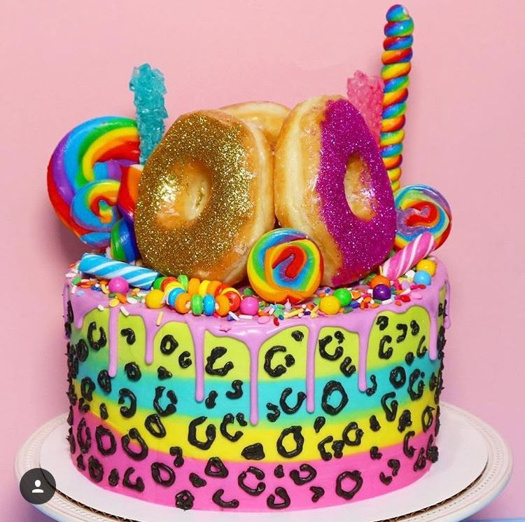 Incredible Lisa Frank Donut Cake Glittercake Lisa Frank Birthday Party Funny Birthday Cards Online Alyptdamsfinfo