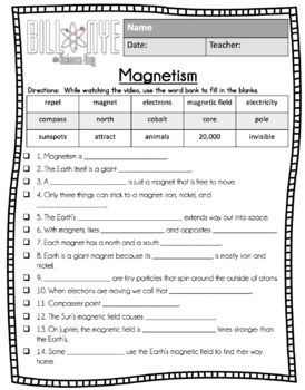 Bill Nye MAGNETISM - Video Guide, Quiz, Sub Plan ...
