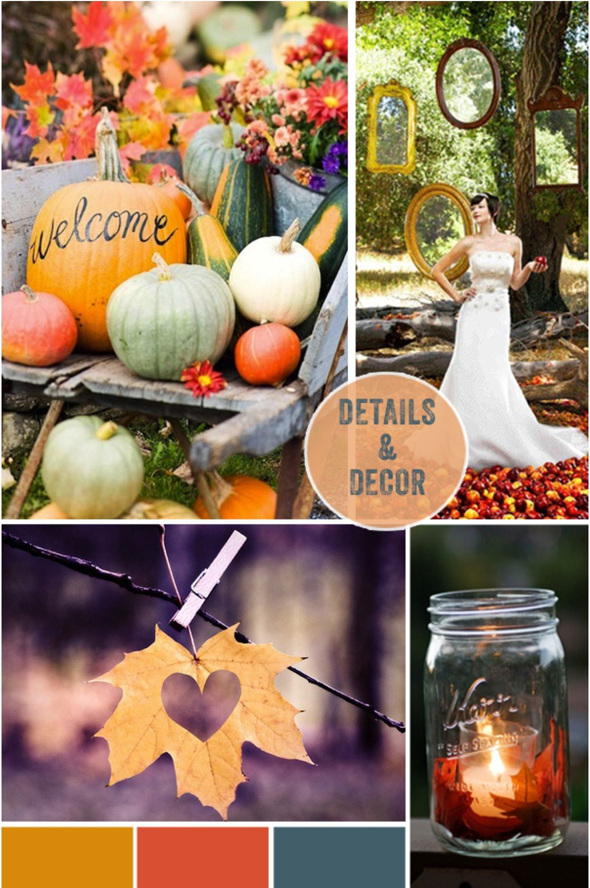 Fall outside wedding decoration ideas  Autumn wedding decor like the snow white theme with the apple and